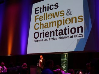 Stephen Ferris speaks at the ethics fellows reception