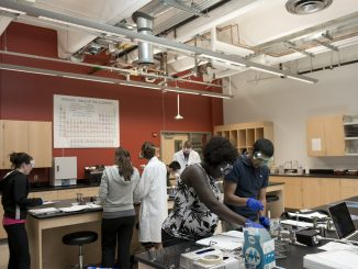 Students in a science lab.