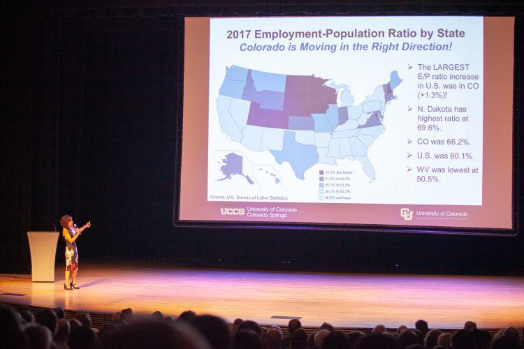 Tatiana Bailey presents at the UCCS Economic Forum