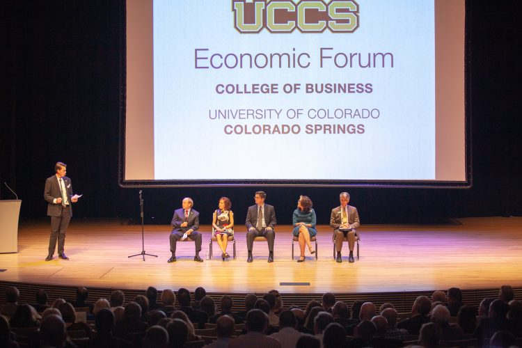 Panel discussion at the UCCS Economic Forum.