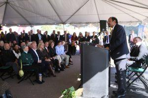 Reddy speaks at Hybl Center groundbreaking