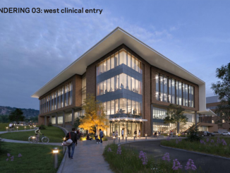 Rendering of the northwest entrance for the William J. Hybl Sports Medicine and Performance Center