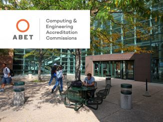 Engineering and Applied Science Building with the ABET logo