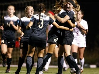 The UCCS women's soccer team celebrates