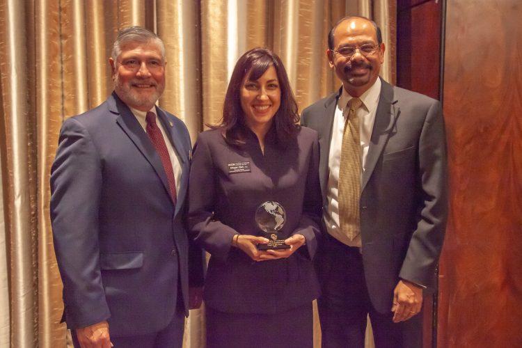 Megan Bell receives the CU Excellence in Leadership Program award