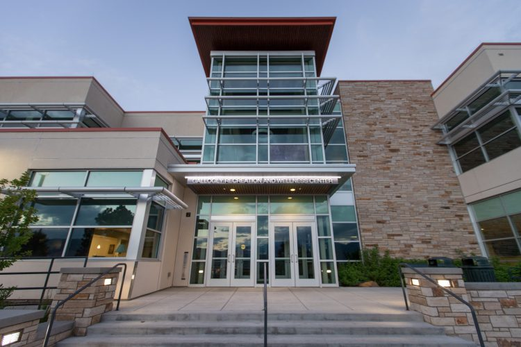 The main entrance to the Gallogly Recreation and Wellness Center