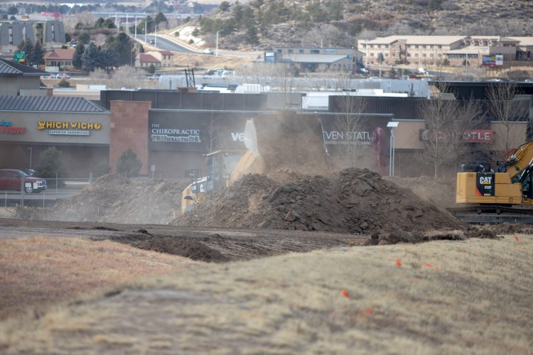 Dirt flying on the Hybl Center construction.