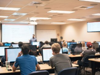 Students in a computer lab during a summer 2018 class session.