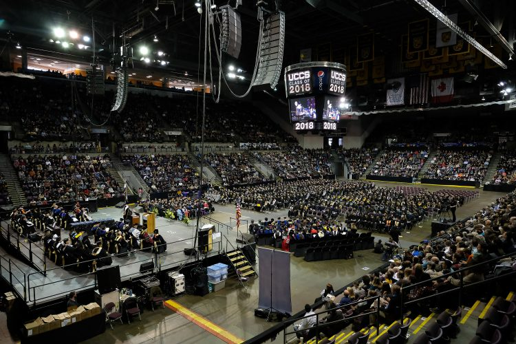 Fall 2018 commencement ceremony at the Broadmoor World Arena.