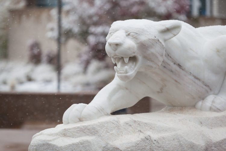 Mountain lion statue with snow