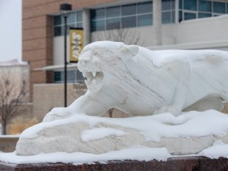Mountain lion statue on Feb. 18