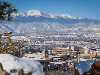Campus and Pikes Peak in snow