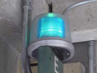 Blue light on top of an emergency call box