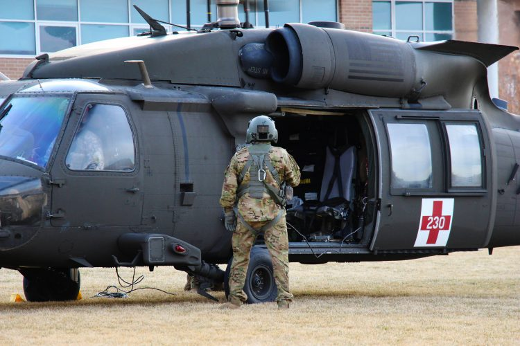 US Army Helicopter lands on campus