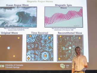 Matthew Copus presenting on magnetic rogue waves