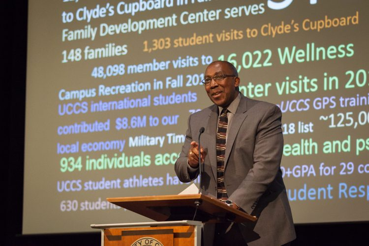 Sentwali Bakari, Vice Chancellor for Student Success, opened the Chancellor Town Hall, Feb. 5.