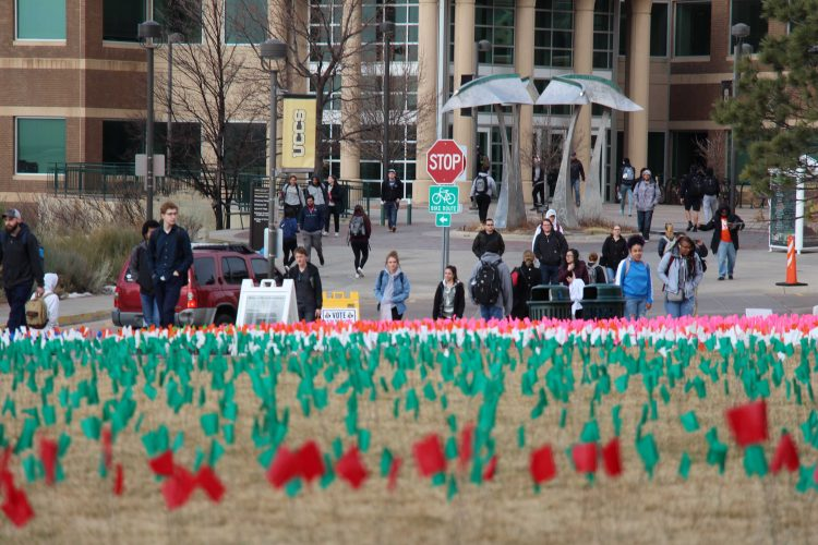 Students observe Holocaust Remembrance flags on West Lawn