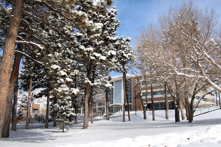 Snowy view of Dwire Hall