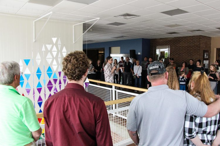 VAPA Assistant Professor Ben Kinsley talks about the students' work at the opening on May 16