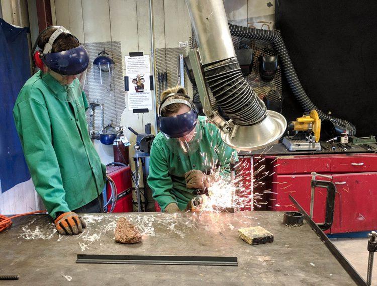 VAPA students weld in the studio