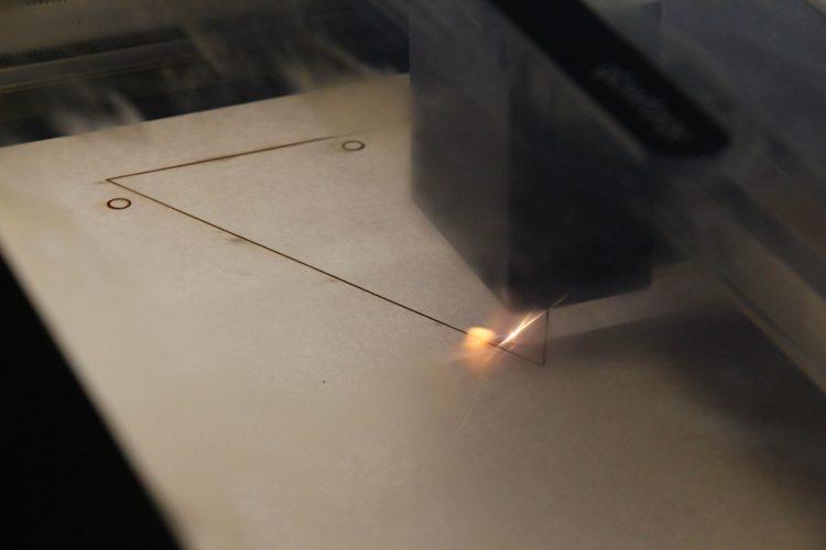 VAPA Students laser cut the triangles