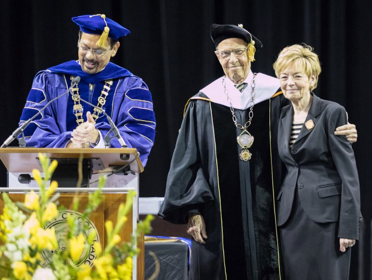 Chancellor Reddy, President Benson and First Lady Benson are recognized during commencement