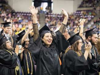 Students celebration at 2019 Spring Commencement