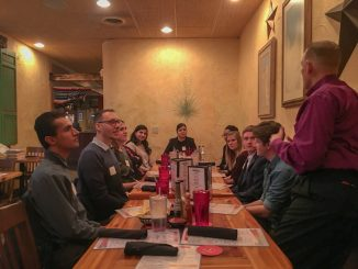 Students participate in the first Dinner with 12 Mountain Lions hosted by Kent and Stephannie Fortune