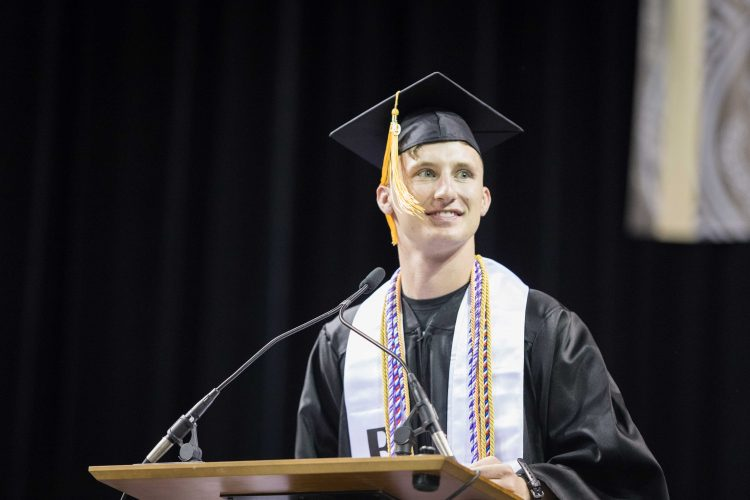 Ryan Dobbs delivers the spring keynote commencement address