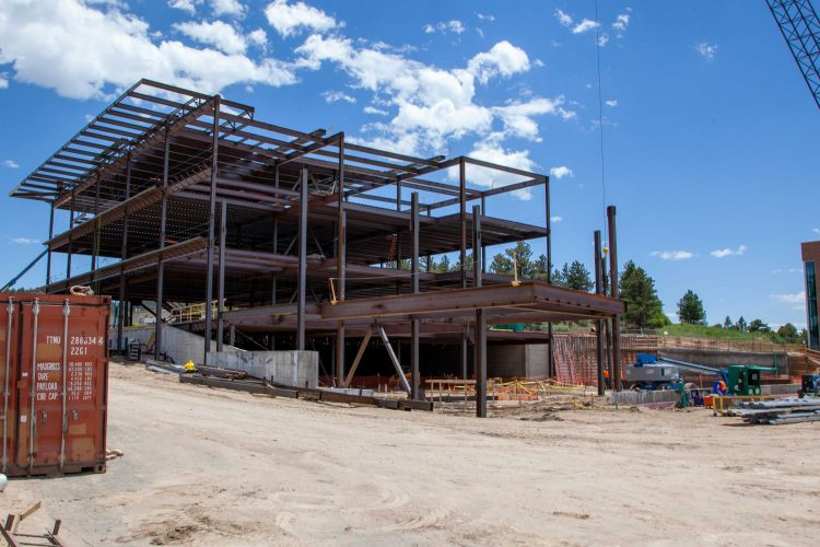 The view of the northwest corner and clinical entrance of the William J. Hybl Sports Medicine and Performance Center.