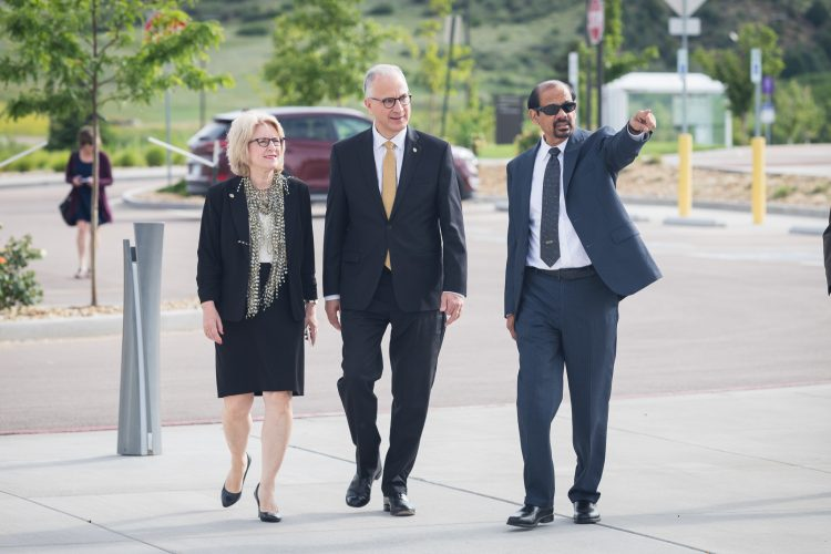 President and Mrs. Kennedy enter the Ent Center with Chancellor Reddy.