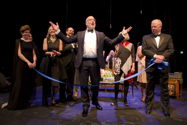 Drew Martorella helps dedicate the Dusty Loo Bon Vivant Theater.
