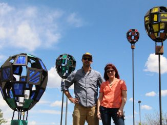Associate Professor Matt Barton and artist Deborah Schoen with Lift Off, 2019