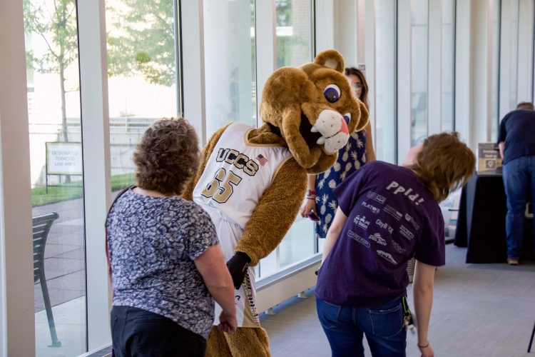 Clyde with new student orientation
