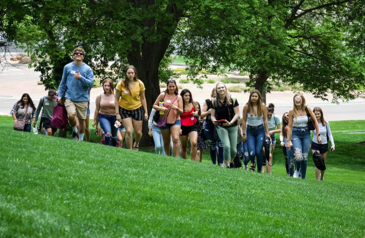 Students on the lawn for orientation