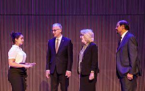Aisha Ahmad-Post showcases the Chapman Foundations Recital Hall.
