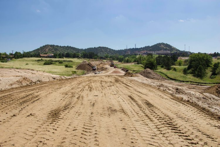 Looking east toward upper campus from Spine Road near the Hybl Center construction.