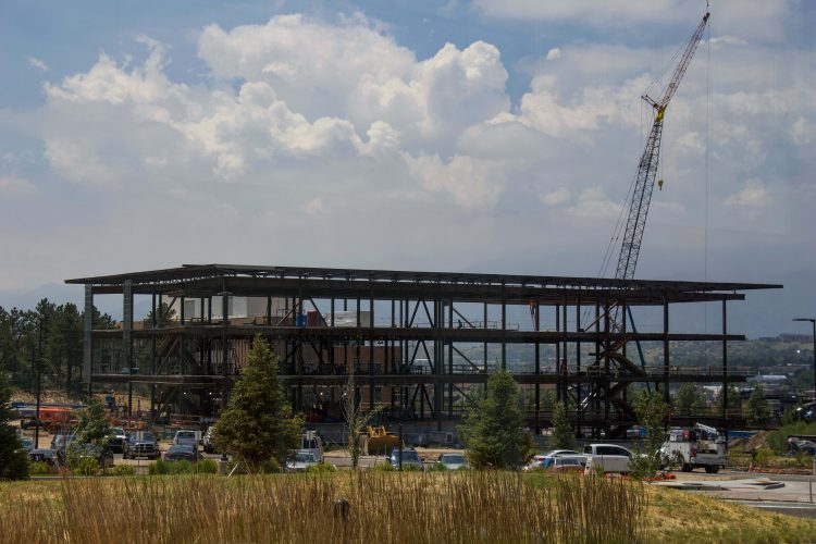 Construction on the William J. Hybl Sports Medicine and Performance Center, looking from the Ent Center for the Arts.