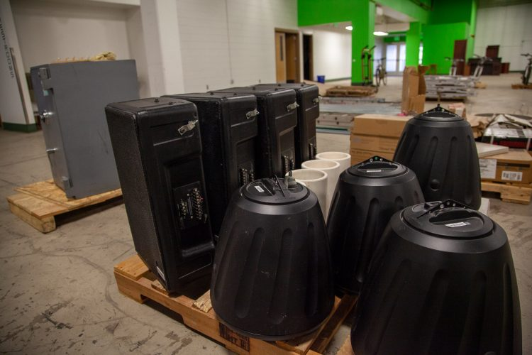 Audio speakers available at the surplus sale