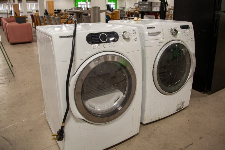 A washer and dryer available at the surplus sale