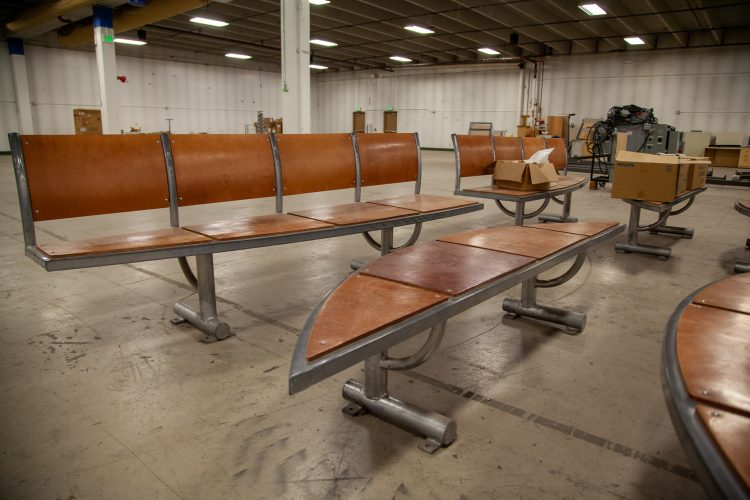Benches and tables available at the surplus sale