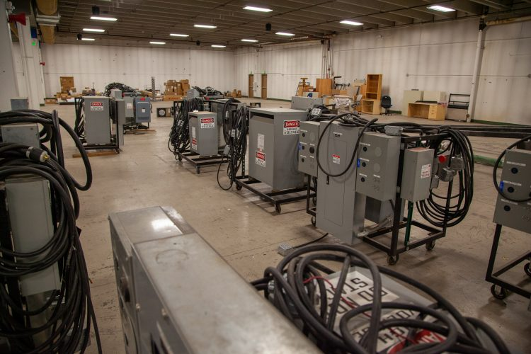 Industrial electrical equipment available at the surplus sale.