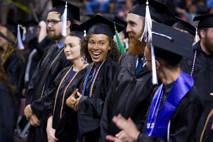Students participate in the spring 2018 commencement ceremony. Photo by Chuck Bigger.