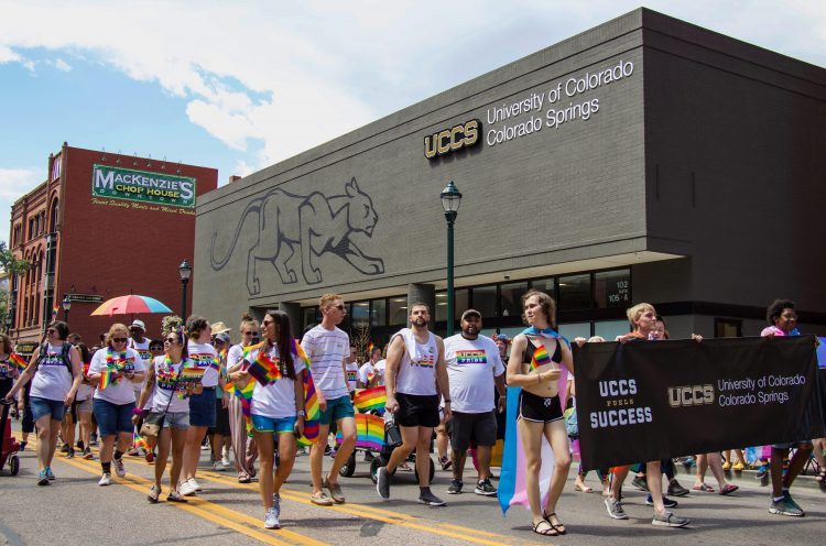 Students, staff, faculty and alumni representing UCCS in the annual Pride Parade on July 14.