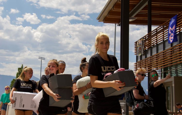 Students from UCCS athletic teams were on campus to help move in first years.