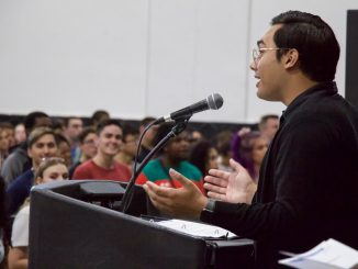 SGA President JayJay Porcadilla addresses first year students at the 2019 convocation