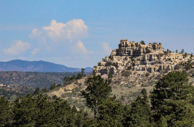 A view of pulpit rock from roaring fork on campus.