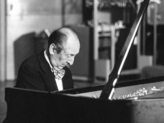 Vladimir Horowitz playing the piano.