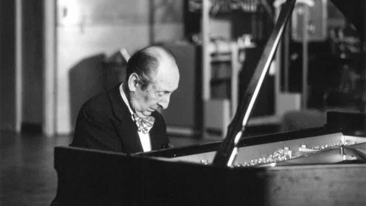 Vladimir Horowitz playing the piano.