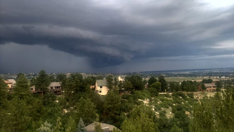 A shot of the storm clouds looking north, submitted by UCCS Alumnus Geoffrey Hamilton.